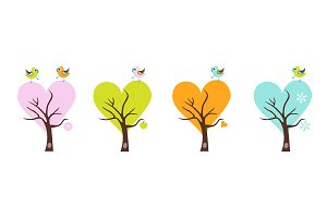Four season trees with singing birds