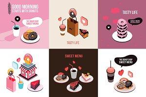 6 delicious desserts banner set II