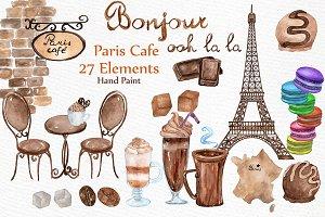 Watercolor Paris cafe clipart
