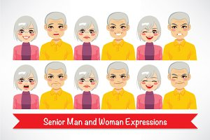 Senior Man and Woman Expressions