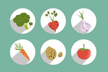 Set of circle color vegetable icons