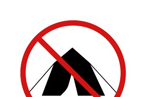 Camping forbidden sign on white