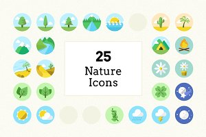 Flat Colour Nature Icons (25 Pack)