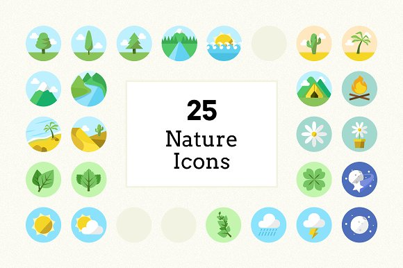 Flat Colour Nature Icons (25 Pack) in Graphics
