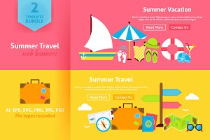 Summer Vacation Flat Web Banners