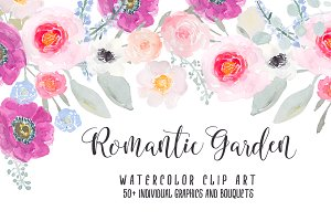 Romantic Garden Watercolor Clipart
