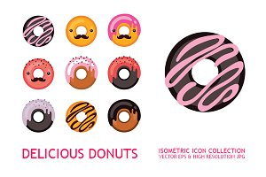 Donut Icons collection Flat Design
