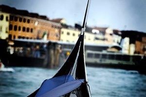 Gondola Venetian Grande Canal near Piazza San Marco. Shallow DOF.