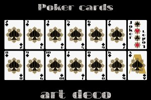 Poker cards in art deco style