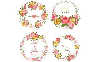 Floral roses wreaths set