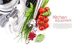 Tomatoes, chives on white
