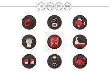 Japanese seafood menu flat icons