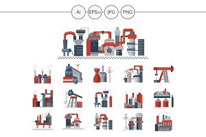 Factories and plants icons. Set 1
