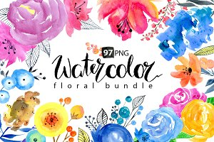 Watercolor floral big bundle, 97 png