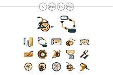 E-bike parts flat color icons. Set 1