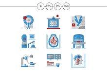 MRI equipment flat icons. Set 1