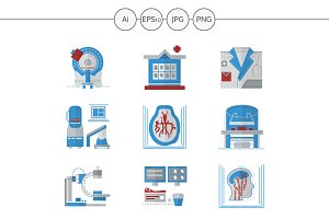 MRI equipment flat icons. Set 1