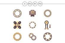 Mechanical bearing flat icons. Set 1
