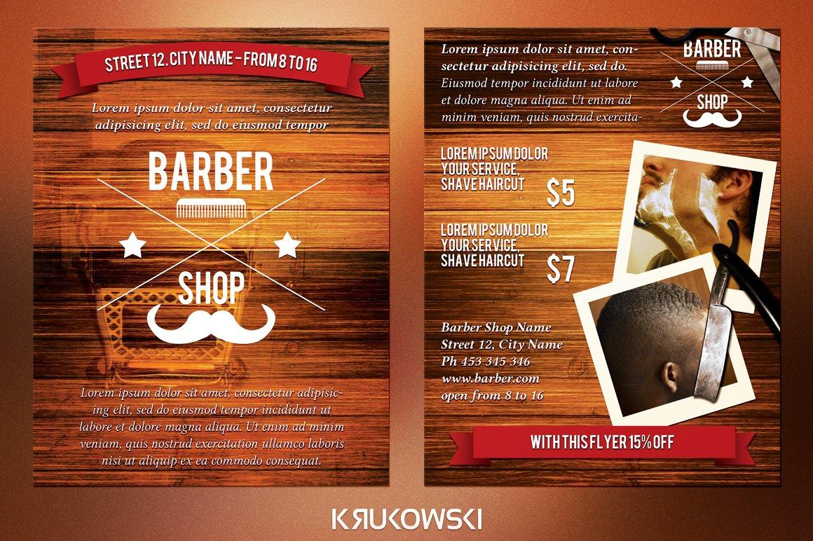 barber shop 2 sided flyer flyer templates creative market