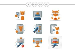 Red cat selfie color icons. Set 1