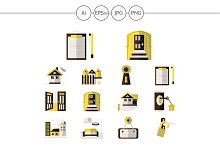 Rental of property yellow flat icons