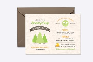 Birthday Campout Invite Template