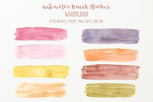 Watercolor Brush Strokes Woodland