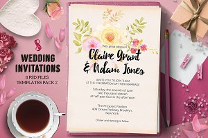 8 Wedding Invitations Pack 2