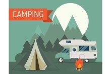 Campsite Landscape Rv Camper