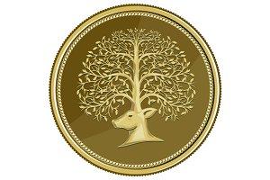 Deer Head Tree Antler Gold Coin