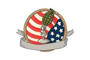 Grenade Microphone USA Flag Circle