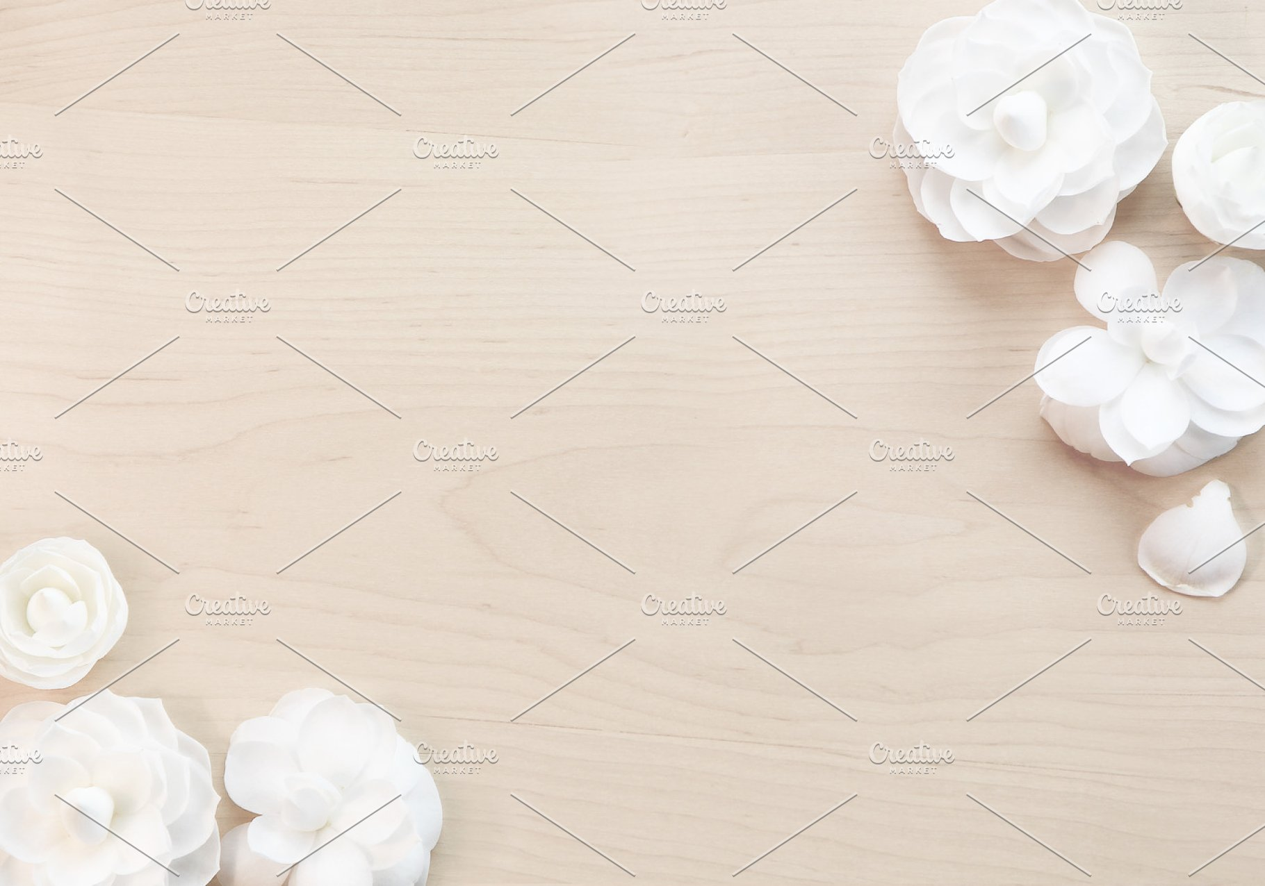 Simple White Wood Flower Background