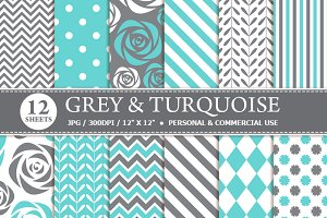 Grey & Turquoise Digital Paper