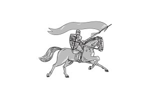 Knight Riding Horse Shield Lance