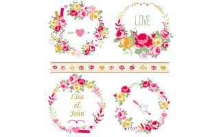 Shabby chic roses wreaths set