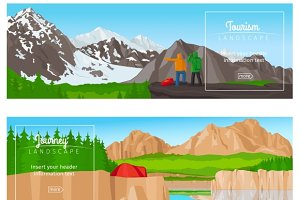 Journey or camping banner set