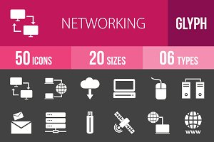 50 Networking Glyph Inverted Icons