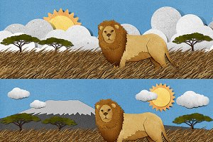 Safari papercut Lion set 01