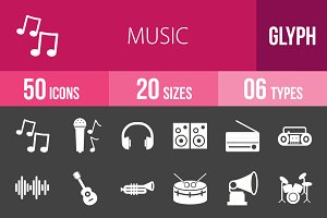 50 Music Glyph Inverted Icons