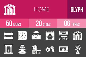 50 Home Glyph Inverted Icons
