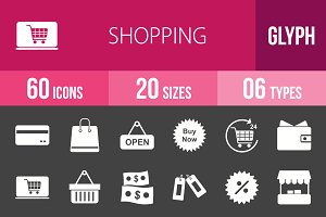 60 Shopping Glyph Inverted Icons