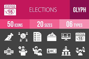 50 Elections Glyph Inverted Icons