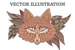 Vector doodle fox.