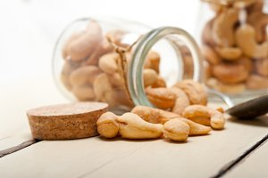 cashew nuts on a glass jar