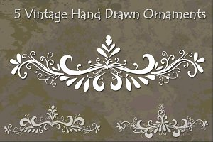 Vintage Hand Drawn Ornaments Set 1