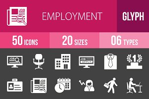 50 Employment Glyph Inverted Icons