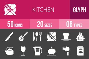 50 Kitchen Glyph Inverted Icons