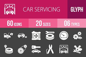 60 Car Servicing Glyph Inverted Icon
