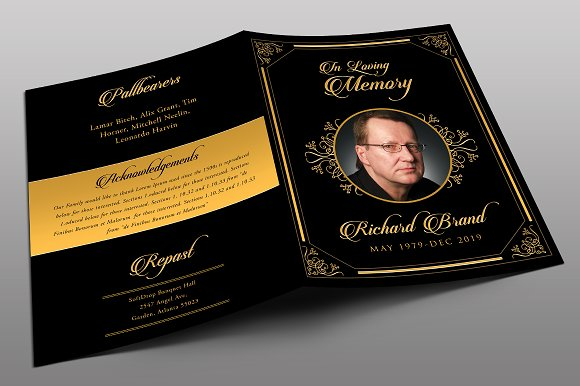 Classic black gold funeral program brochure templates for Funeral brochure template