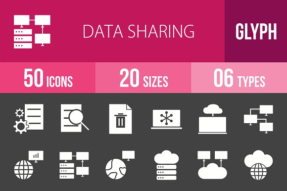50 Data Sharing Glyph Inverted Icons